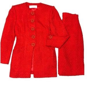 Catherine Walker Red Boulce Skirt Suit